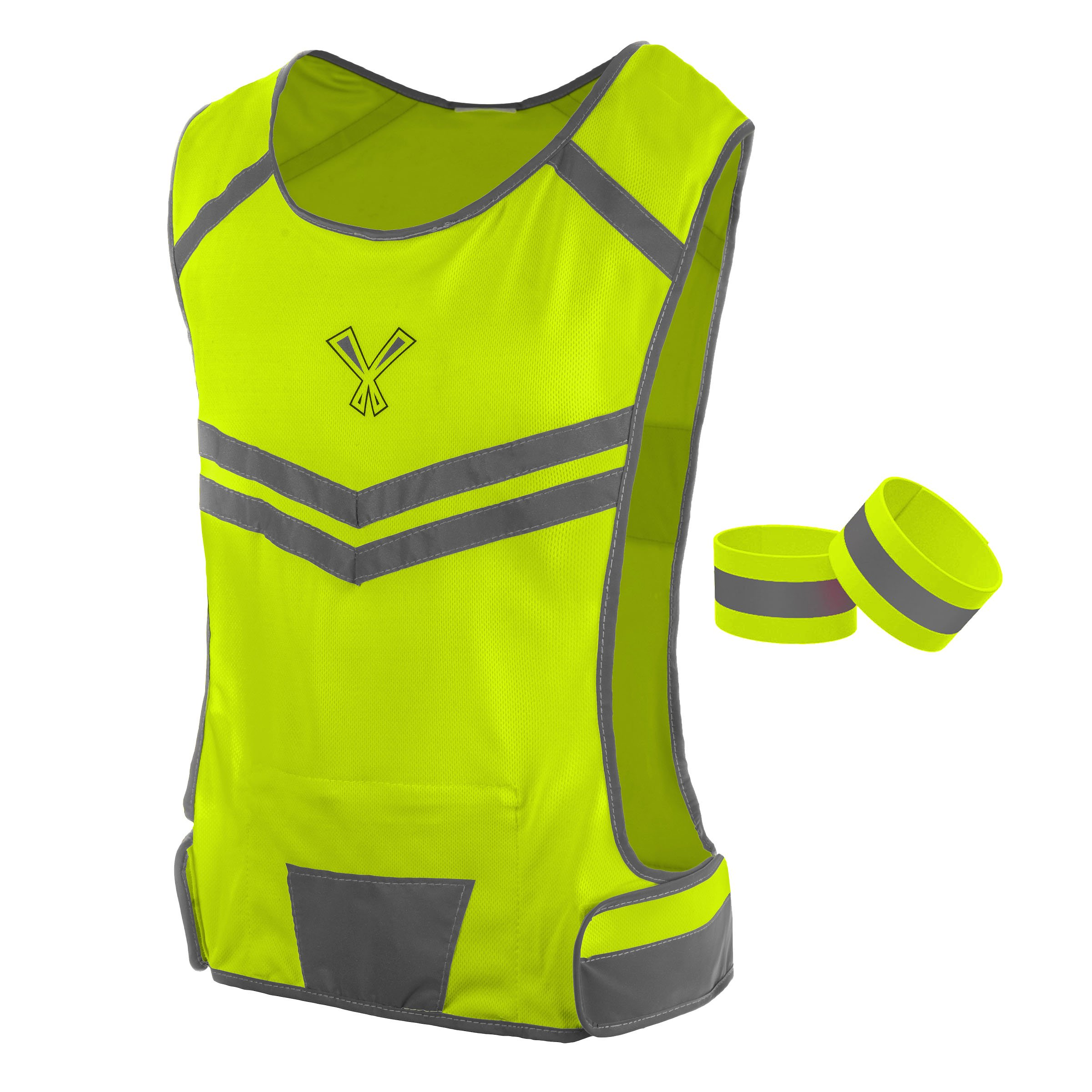 247 Viz The Reflective Vest with Inside Pocket & 2 High Visibility Running Safety Bands (Neon Yellow, Small)
