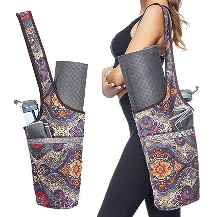 Bolsa para esterilla de yoga con bolsillo de tamaño grande y bolsillo con cremallera, bolsa de yoga funcional con soporte para botella de agua, fácil ...