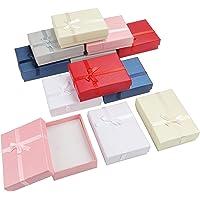 Kurtzy Smyckesuppvisning Papperspresentlådor (12 Pack) – 8,5 x 6,5 x 2,5 cm – 6 Färger – Pappkartong Låda Uppsättning…