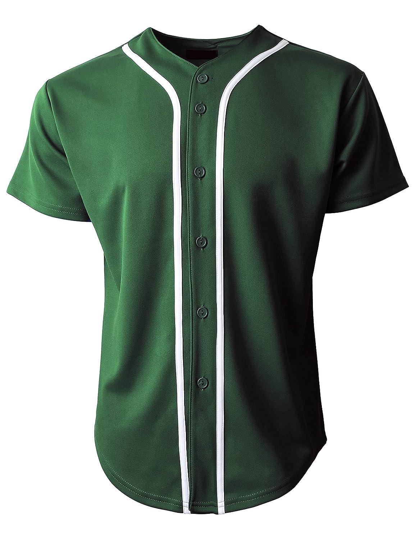 KS 1KSA0002 ボタンダウンTシャツ メンズ 野球ジャージー プレーン 半袖 B078H1FBPR Large|H. Green/White H. Green/White Large