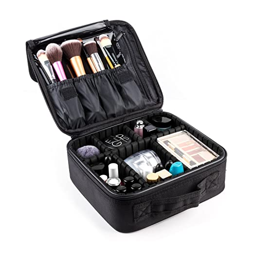 Makeup Train Case,FORTECH Makeup Case Organizer Portable Artist Storage Bag for Cosmetics, Makeup Brush Set, Jewelry, Toiletry And Travel Accessories (Black)