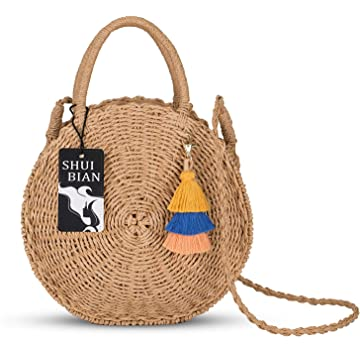 SHUIBIAN Women Straw Summer Beach Bag Handwoven Round Rattan Bag Cross Body Bag with Tassel Bag Charm Key Chain