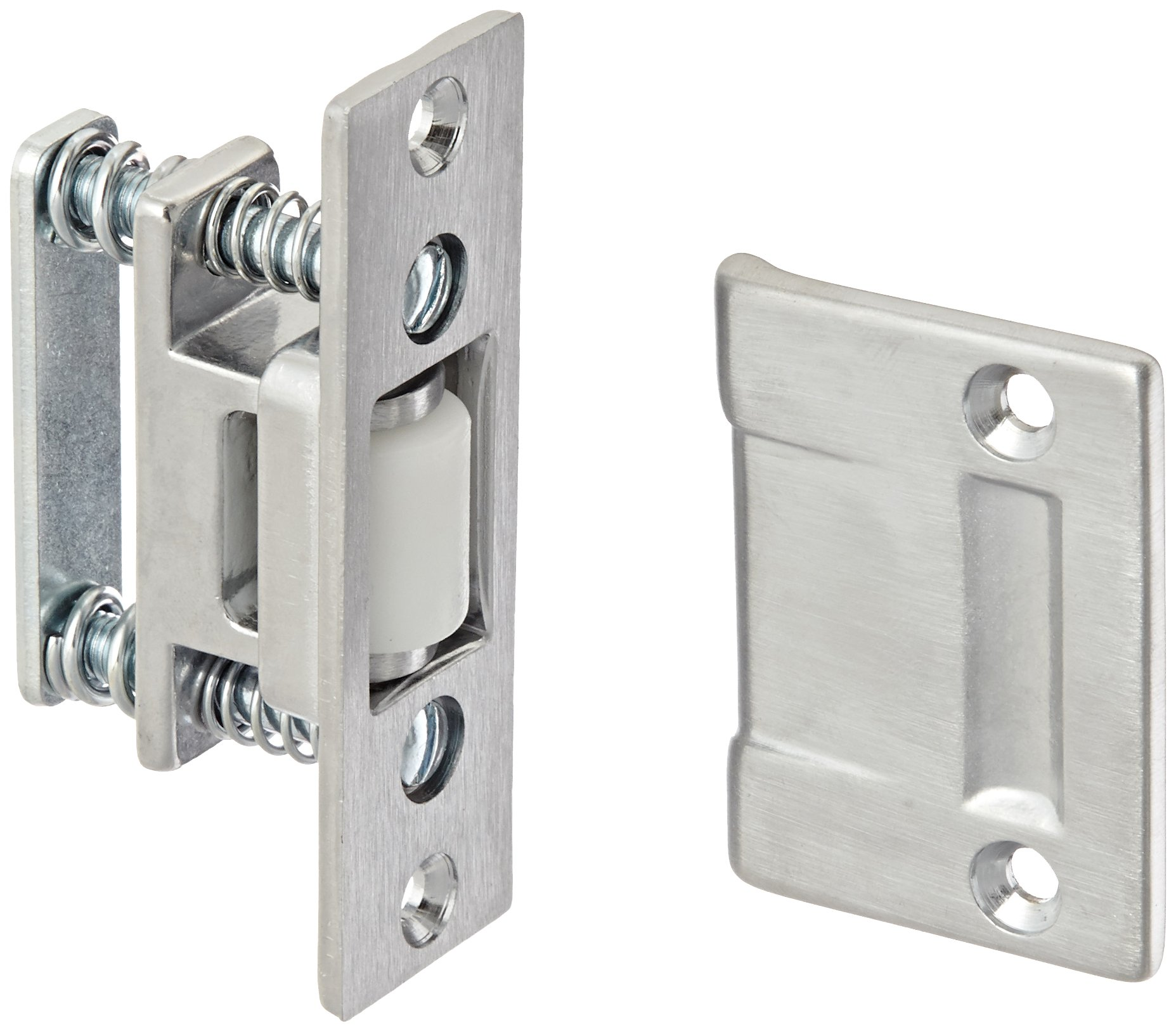 Rockwood 590.26D Brass Roller Latch with Cast Strike, 1'' Width x 3-3/8'' Length, 1-11/16'' Strike Width x 2-1/4'' Strike Length, Satin Chrome Plated Finish