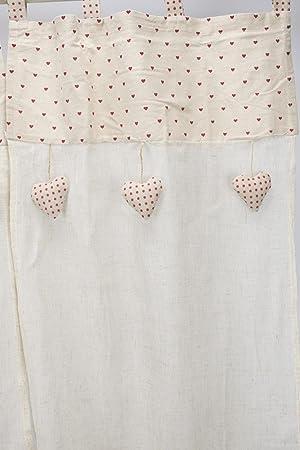 Paire Rideaux de porte fenêtre 60 x 150 Blanc Petit Coeur Ecru et ...