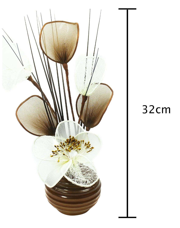 Flourish 813 Creme//Braun Mini-Blume gespritzter 790301 Vase Gei/ßblatt