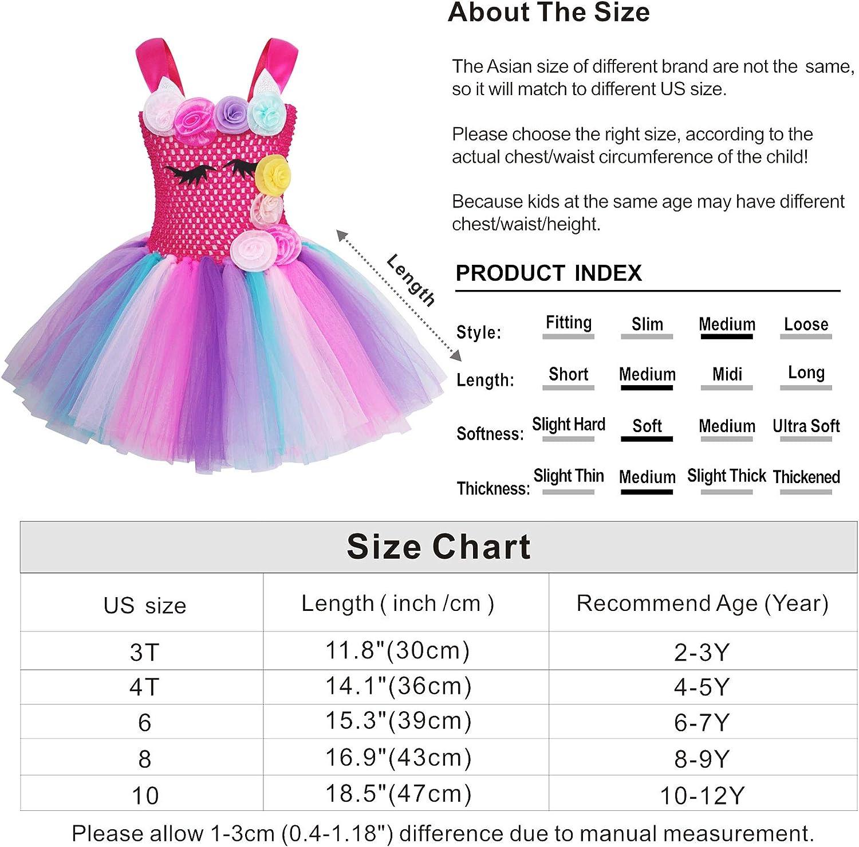AmzBarley 2Pcs Unicorn Tulle Tutu Dress Halloween Dressing up Costume with Unicorn Headband for Girls Kids Holiday Birthday Party Dance Outfit