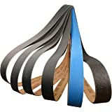 1 X 42 Premium Knife Sharpening Sanding Belts Assortment 80, 220, 400, 600, 800, 1000 Grit High Performance Silicon Carbide & Ceramic Belt Sander Belts (12)