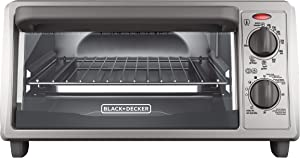 BLACK+DECKER 4-Slice Countertop Toaster Oven, Stainless steel Silver TO1322SBD (Renewed)