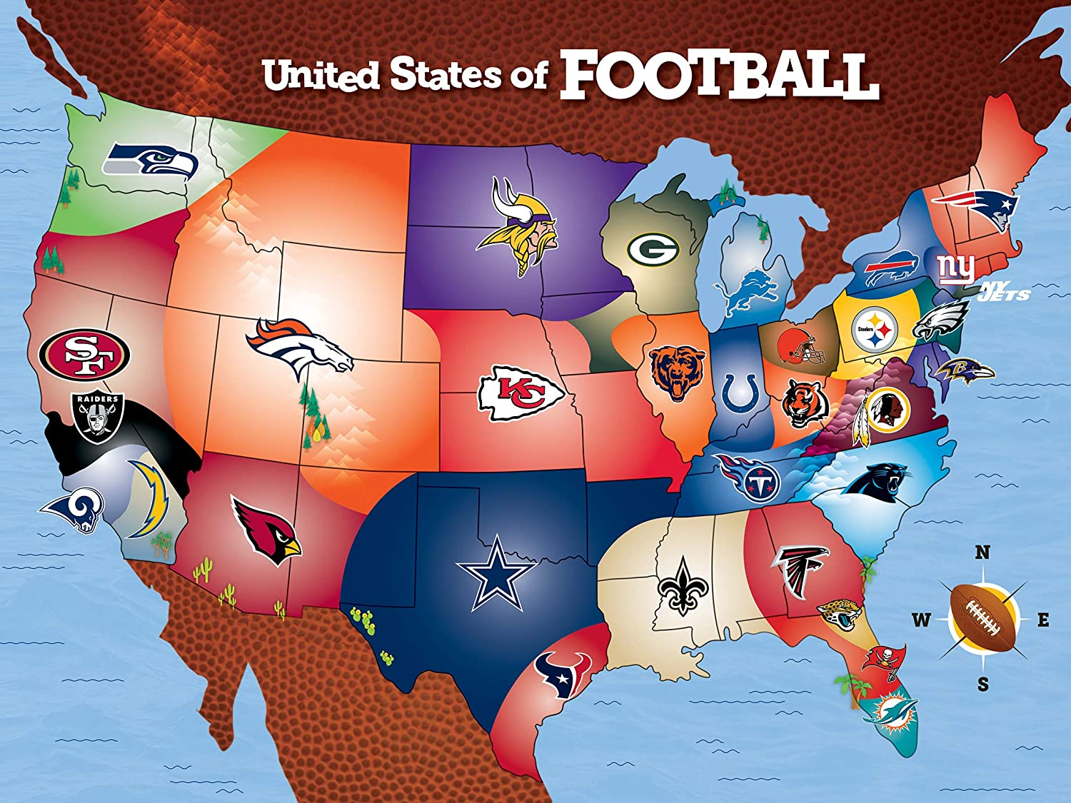 united states map of football teams Amazon.com: MasterPieces NFL USA Map Jigsaw Puzzle, United States