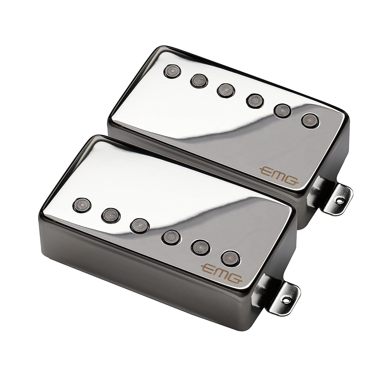Emg Jh James Hetfield Signature Guitar Pickup Set Black 81 85 Humbucker Active Pickups Electric Chrome Musical Instruments