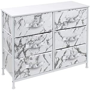 Sorbus Dresser with 6 Drawers - Furniture Storage Chest Tower Unit for Bedroom, Hallway, Closet, Office Organization - Steel Frame, Wood Top, Easy Pull Fabric Bins (Marble White – White Frame)