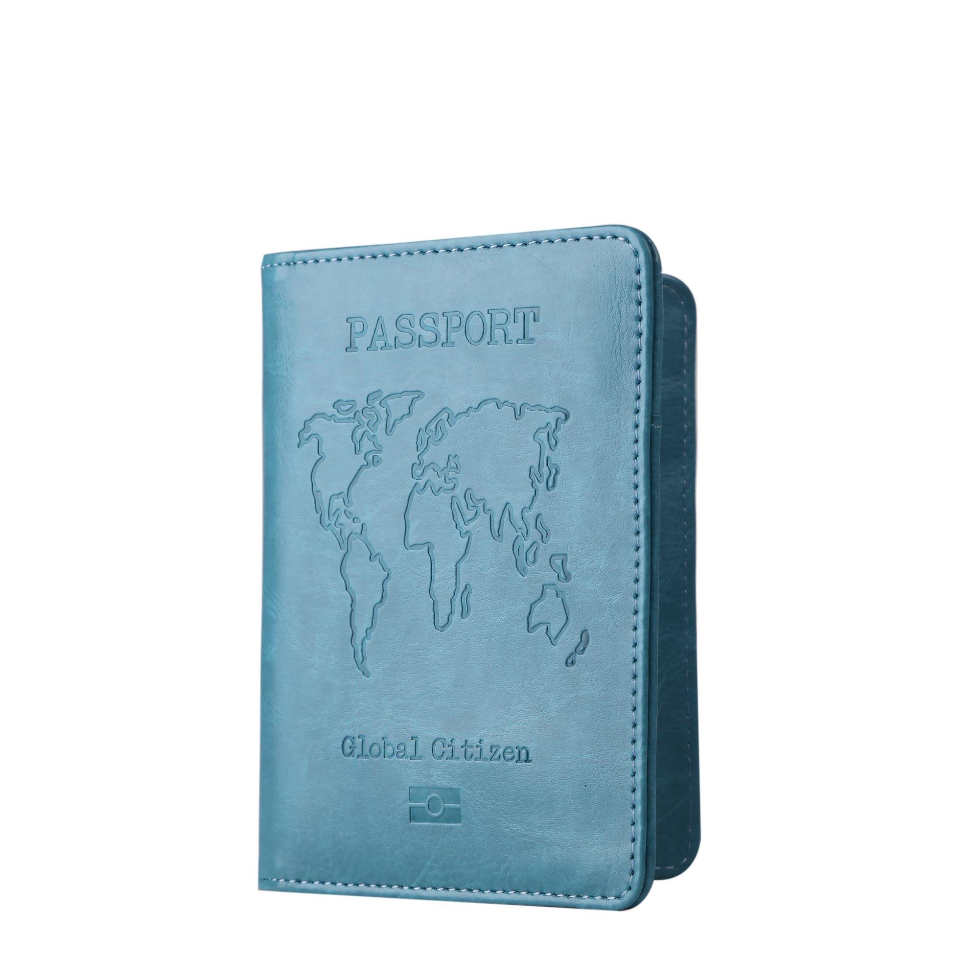 PU Leather Passport Holder Cover Case RFID Blocking Travel Wallet Credit Card Organizer (Turquoise)