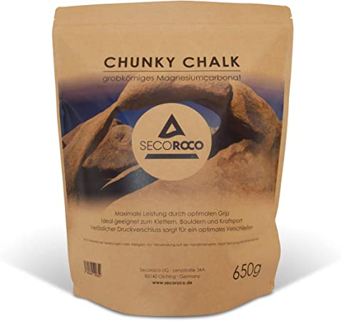 Secoroco Tiza para escalada, 650 g, polvo de magnesio fino y grueso, para escalada, búlder y fitness, bolsa con cierre a presión
