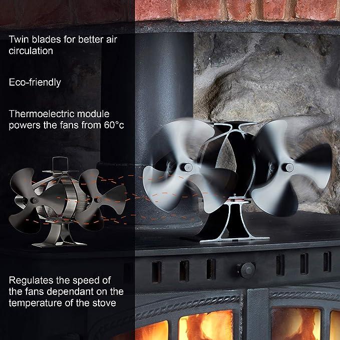 Zennox Doble ventilador de estufa de 6 cuchillas Accionada con calor Respetuoso con el medio ambiente para quemadores de madera y quemador de leña: ...