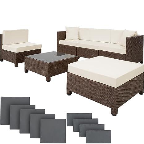 TecTake Conjunto muebles de Jardín en Poly Ratán Aluminio + 2 Set de fundas intercambiables - disponible en diferentes colores - (Antigüedad Marrón)