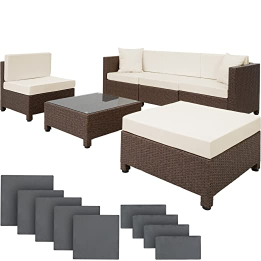 TecTake 800031 Conjunto Muebles de Jardín en Poly Ratán Aluminio + ...