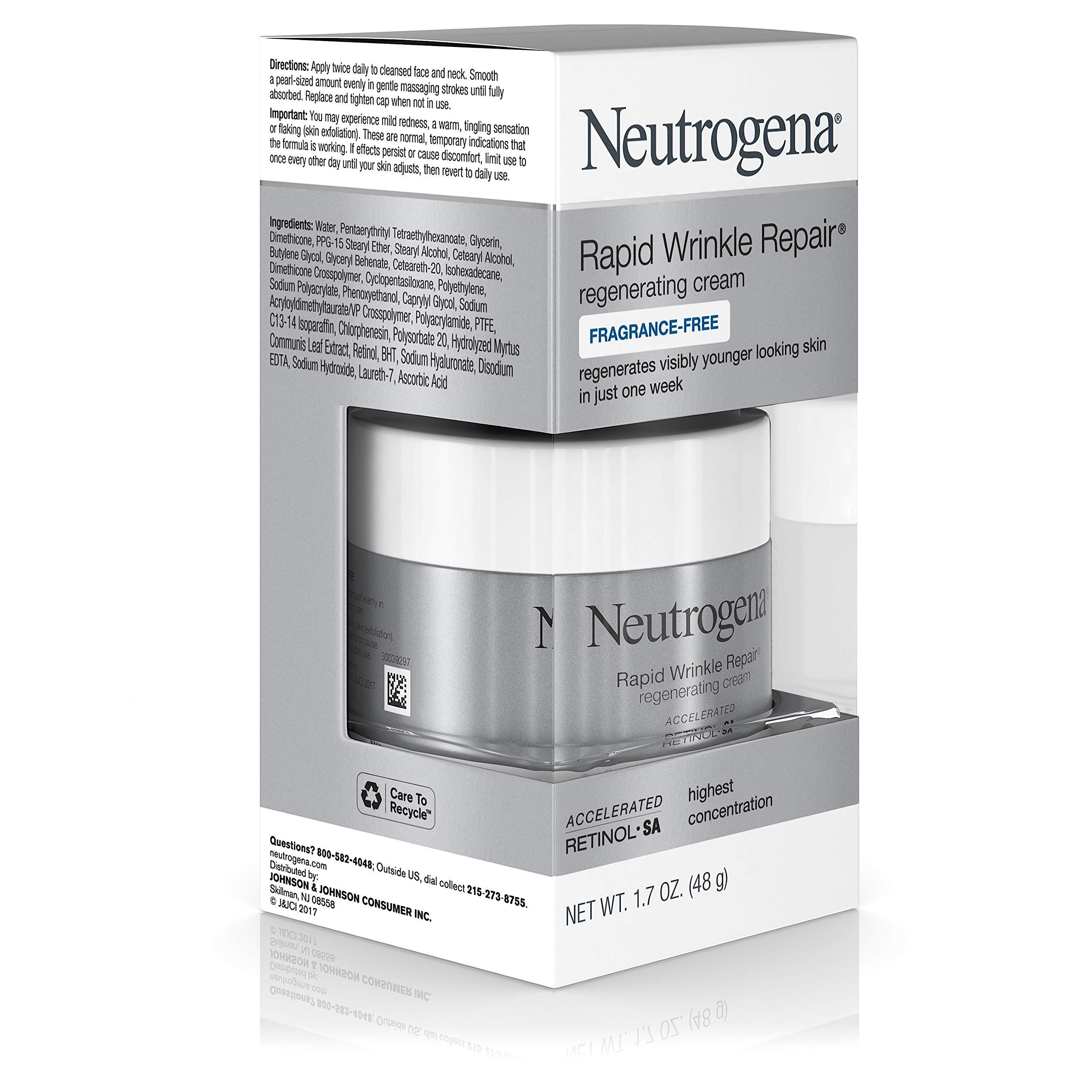 Neutrogena Rapid Wrinkle Repair Hyaluronic Acid Retinol Cream, Anti Wrinkle Cream, Face Moisturizer, Neck Cream & Dark Spot Remover for Face - Day & Night Cream with Hyaluronic Acid & Retinol, 1.7 oz by Neutrogena (Image #3)