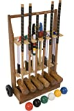 """6 Player Pro Croquet Set with Wooden Trolley - Contains 2 sizes of hardwood mallet; 2 x 34"""" and 4 x 38."""" The set also includes 6 composite balls, 6 steel hoops, hoop smasher, clips, flags and a centre peg. All in a Wooden Storage Trolley."""