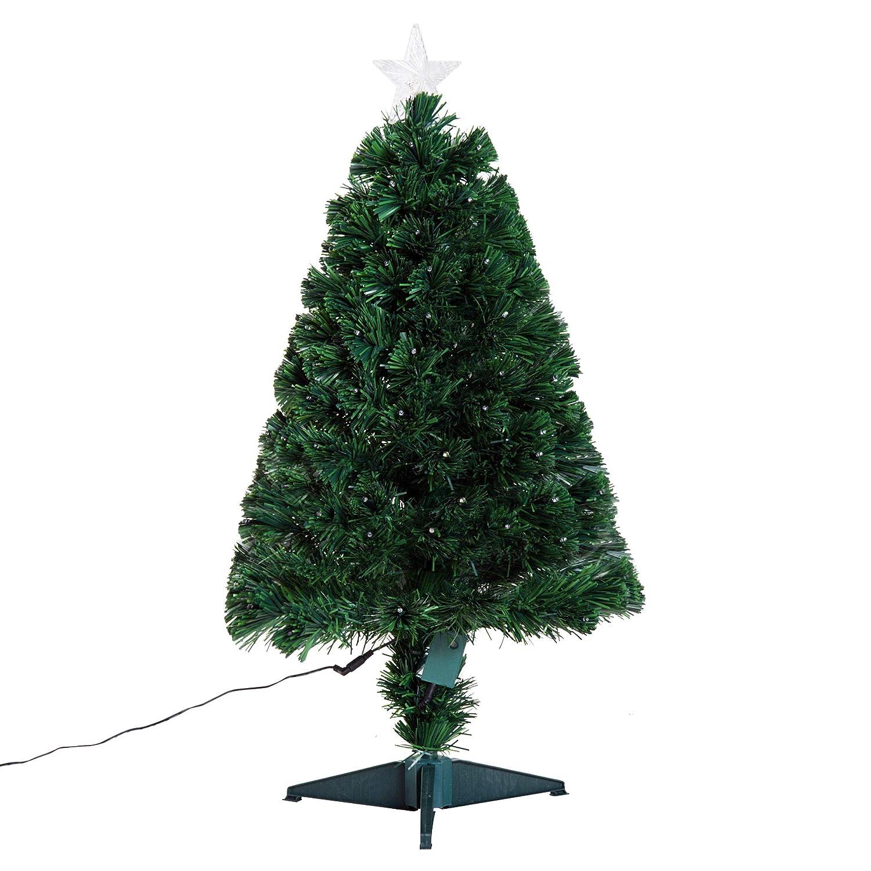 HOMCOM 3FT Pre-lit LED Optical Fiber Christmas Tree Artificial Holiday Décor Stand Green Aosom Canada
