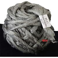 M.G Enterprise Knitting Yarn Thick Chunky Roving Jumbo Wool, Grey 100 gm Best Used with Knitting Needles, Crochet Needles Roving Jumbo Wool Yarn for Knitting. by M.G Enterprise