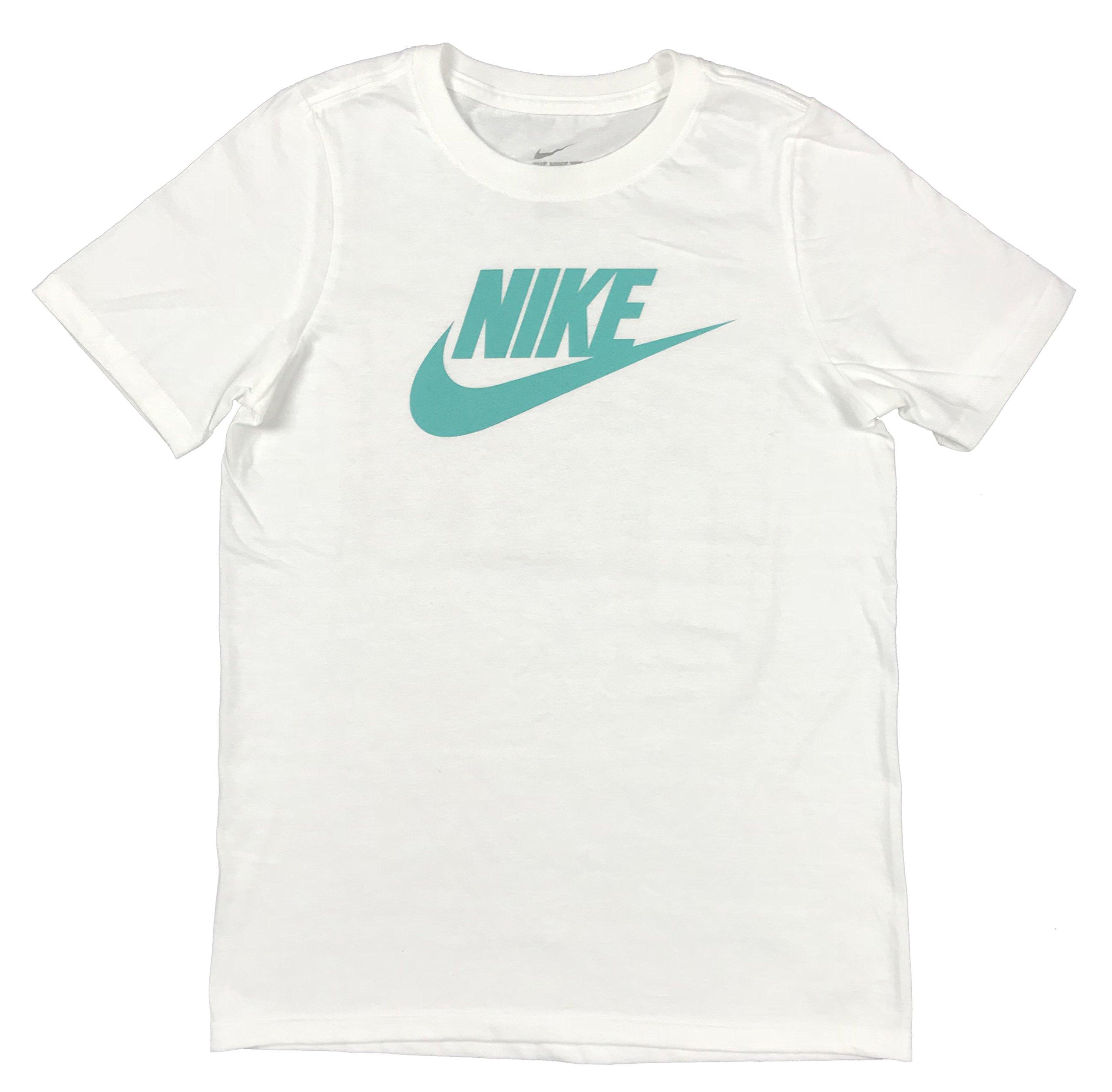 Nike Boys Classic Swoosh Logo Graphic Cotton Shirt White/Teal (Medium)