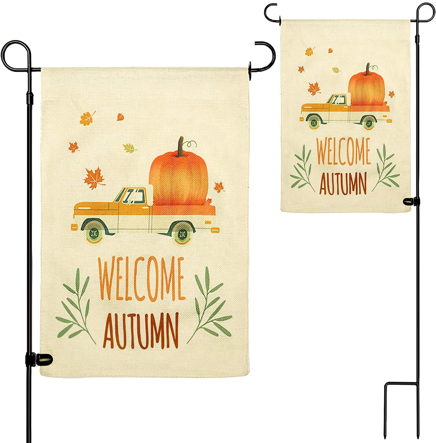 yosager Thanksgiving Fall Garden Flag with Flag Stand, Double Sided Welcome Autumn Flags, Outdoor House Farmhouse Yard Flags for Autumn Harvest Thanksgiving Decorations 12 x 18 Inch