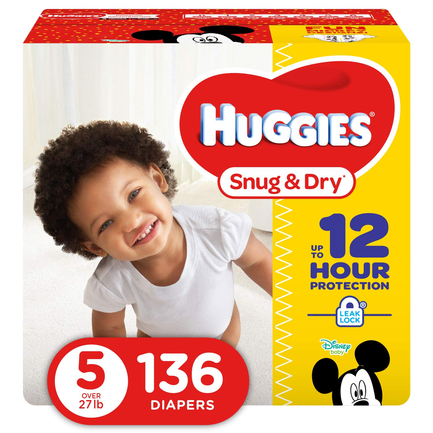 HUGGIES Snug & Dry Diapers, Size 5, 136 Count (Packaging May Vary) by HUGGIES