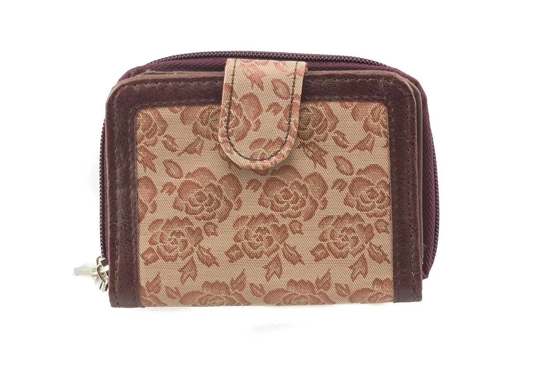 Fabretti de flores, marrón mujer cartera monedero billetera ...
