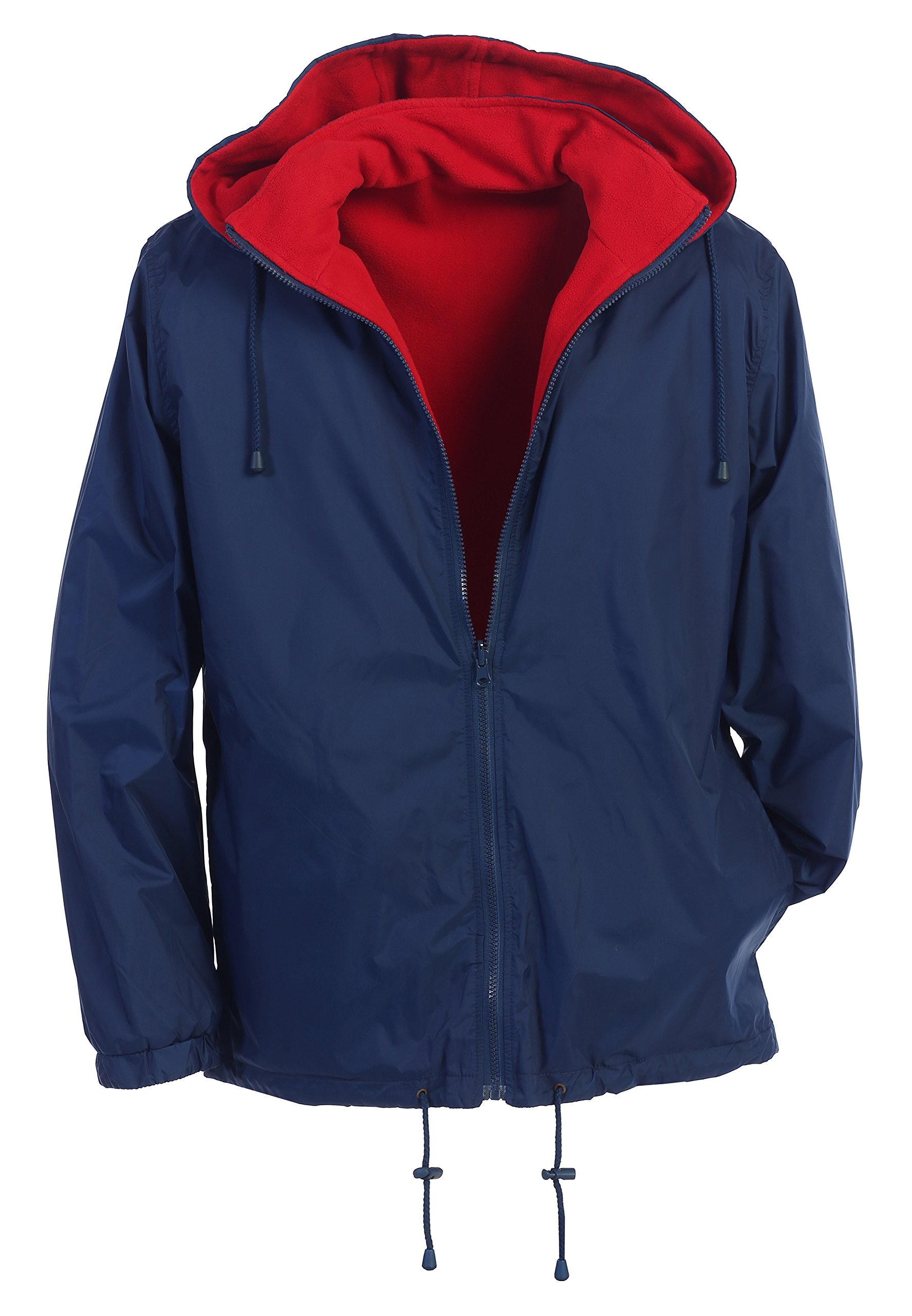 Gioberti Men's Reversible Rain Jacket with Polar Fleece Lining, Navy/Red, XXL