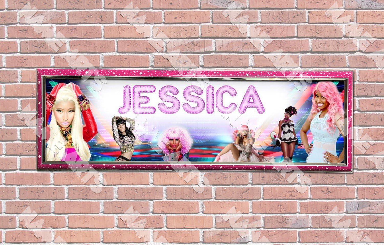 Personalized Customized Nicki Minaj Name Banner Wall Decor Poster with Frame