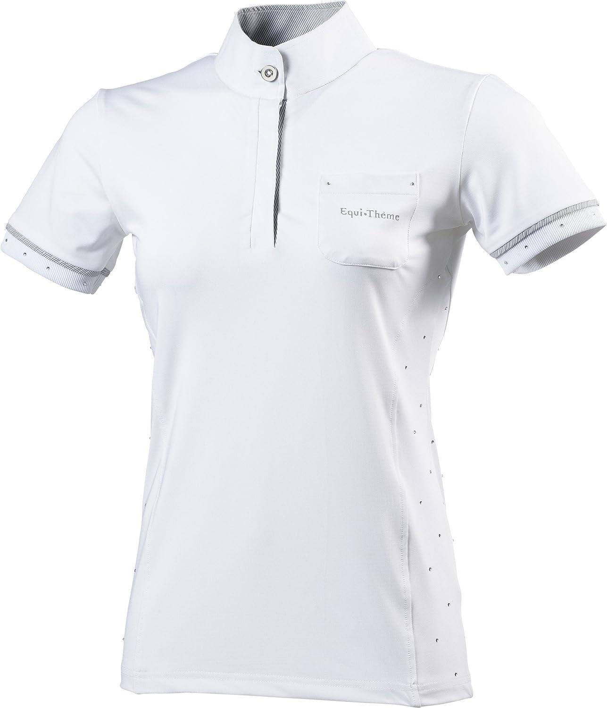Contrasted Grey//White Stripes One Size Equi-Theme//EquitM Unisexs 987030136 Cristal Short Sleeve Polo Shirt