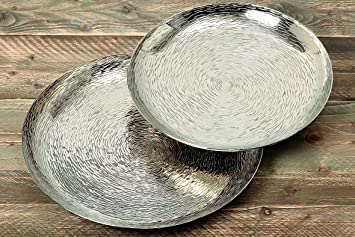 Dekotablett Silber Metall 48 Cm Gehämmert Tablett Deko Schale