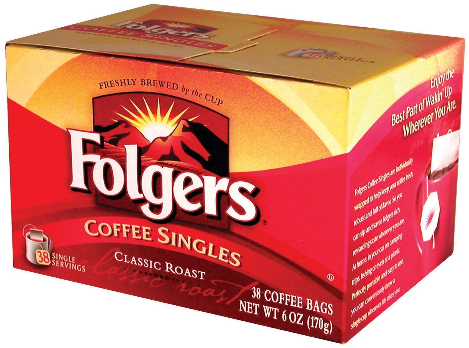 Folgers Coffee Singles Classic Roast, 38 Single Servings (Pack of 2)