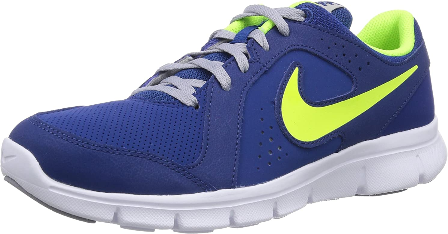 Nike Flex Experience Leather, Zapatillas Running para Niños, Gym Blue Volt Wolf Grey White, 38 EU: Amazon.es: Zapatos y complementos