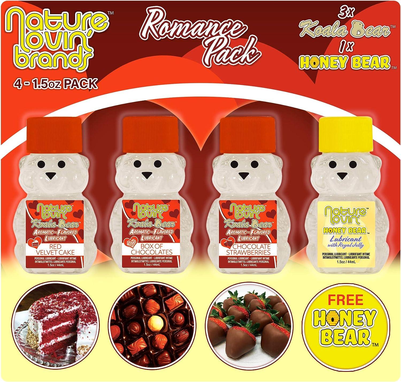 Nature Lovin' Koala Bear - Romance Pack Flavored Personal Lubricant 4-1.5 oz Edible for Couples, Women & Men