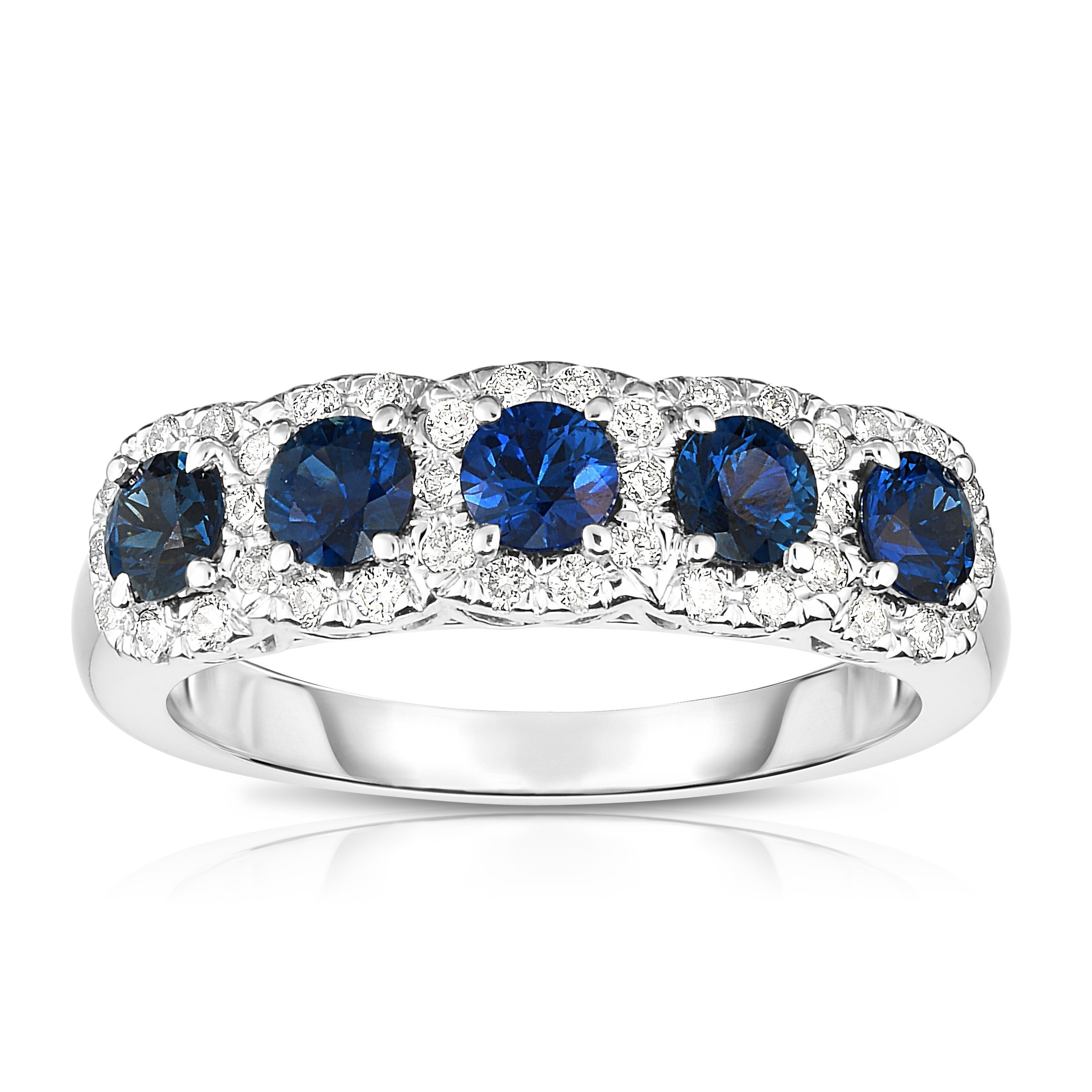 Noray Designs 14K White Gold Blue Sapphire & Diamond (0.35 Ct, G-H Color, SI2-I1 Clarity) Wedding Ring