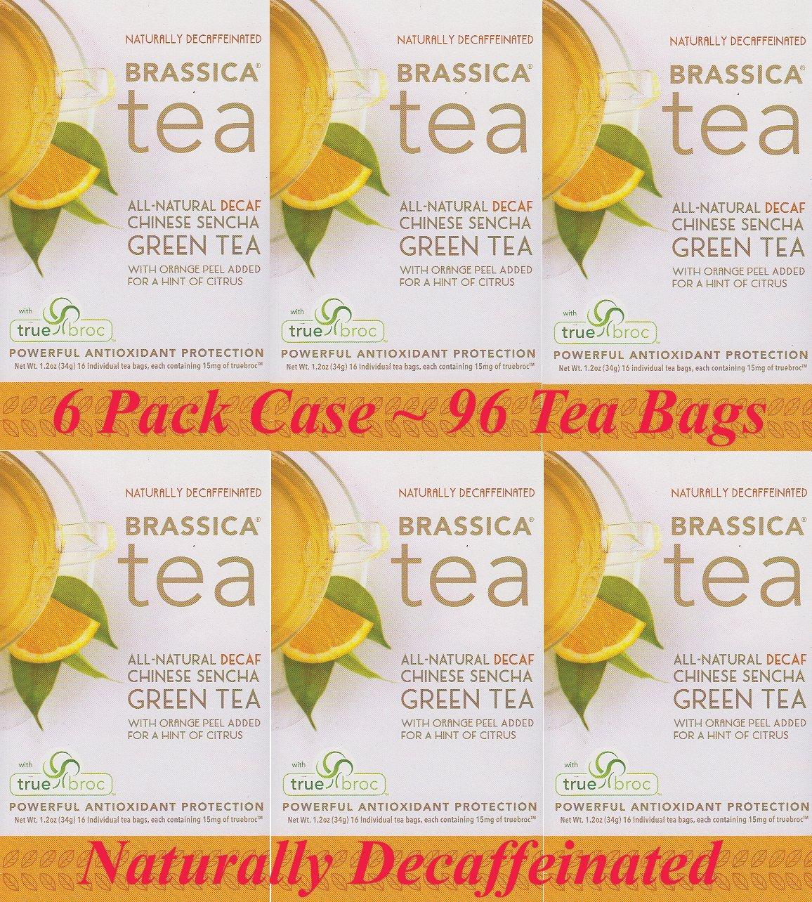 Brassica Decaf Green Tea with Trubroc, Orange, 6 Boxes (96 Total Tea Bags)