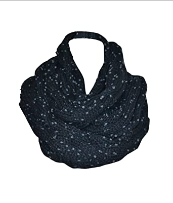 Black Chunky Knitted Cable Pattern Circle Loop Infinity Scarf Snood