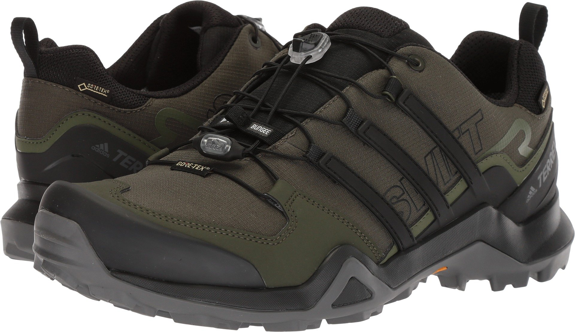 adidas outdoor Terrex Swift R2 GTX Mens Hiking Boot Night Cargo/Black/Base Green, Size 12