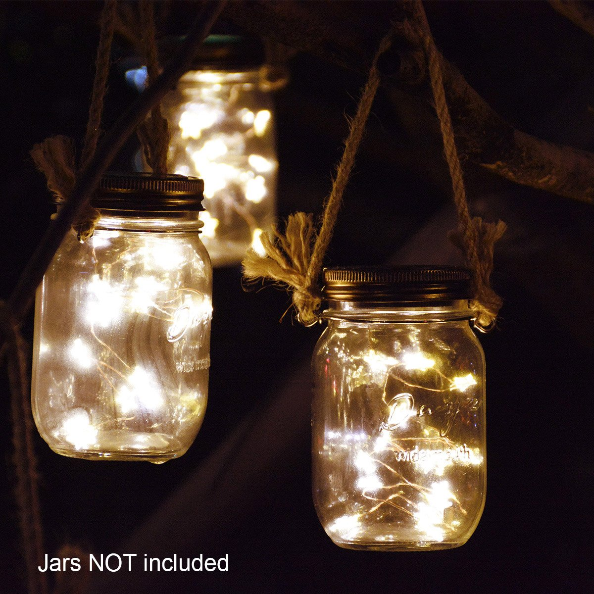 Homeleo 5 Pack Handmade Vintage Solar Mason Jar Star Lights Burlap Hangers Solar Powered Warm White Mason Jar Firefly Lid Light for Xmas Outdoor Garden Summer Backyard Decoration Jars Not Included