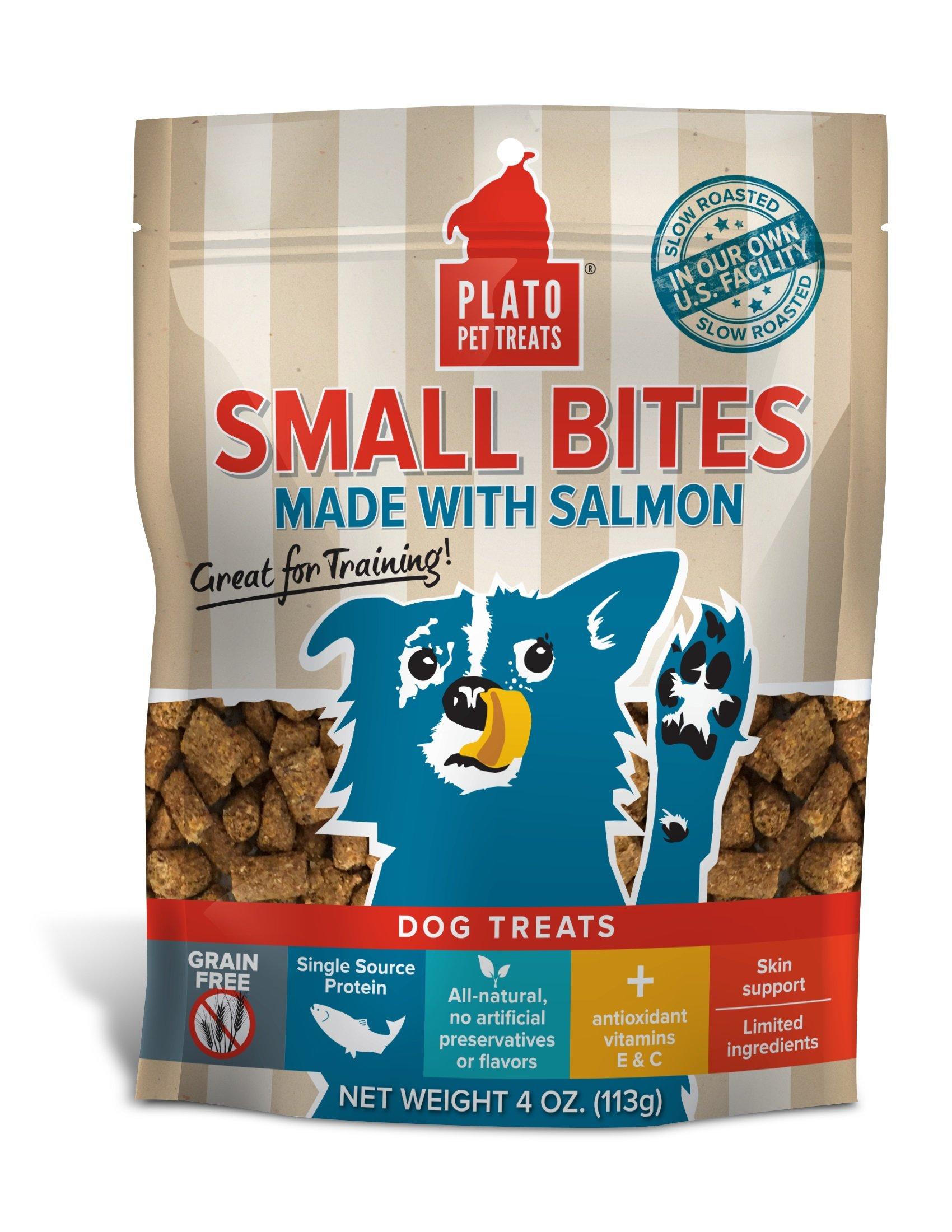 PLATO Dog Treats - Small Bites Salmon - 4 oz