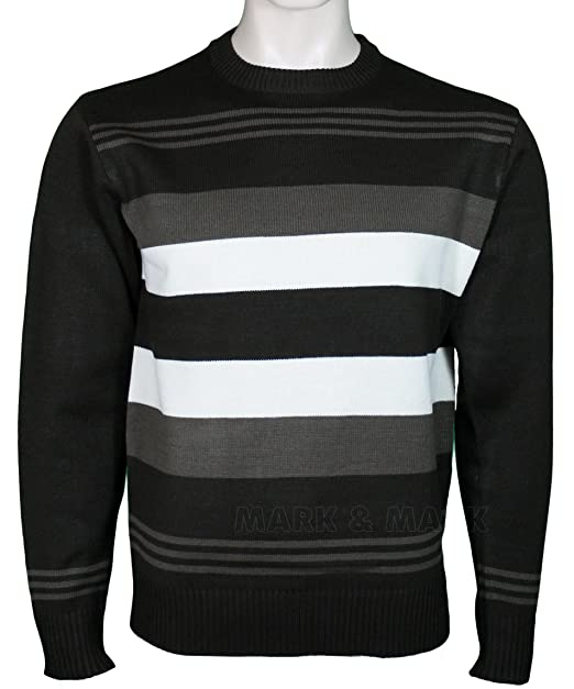 cf2d15ebd84 Mens Crew Neck Jumper Striped Pattern