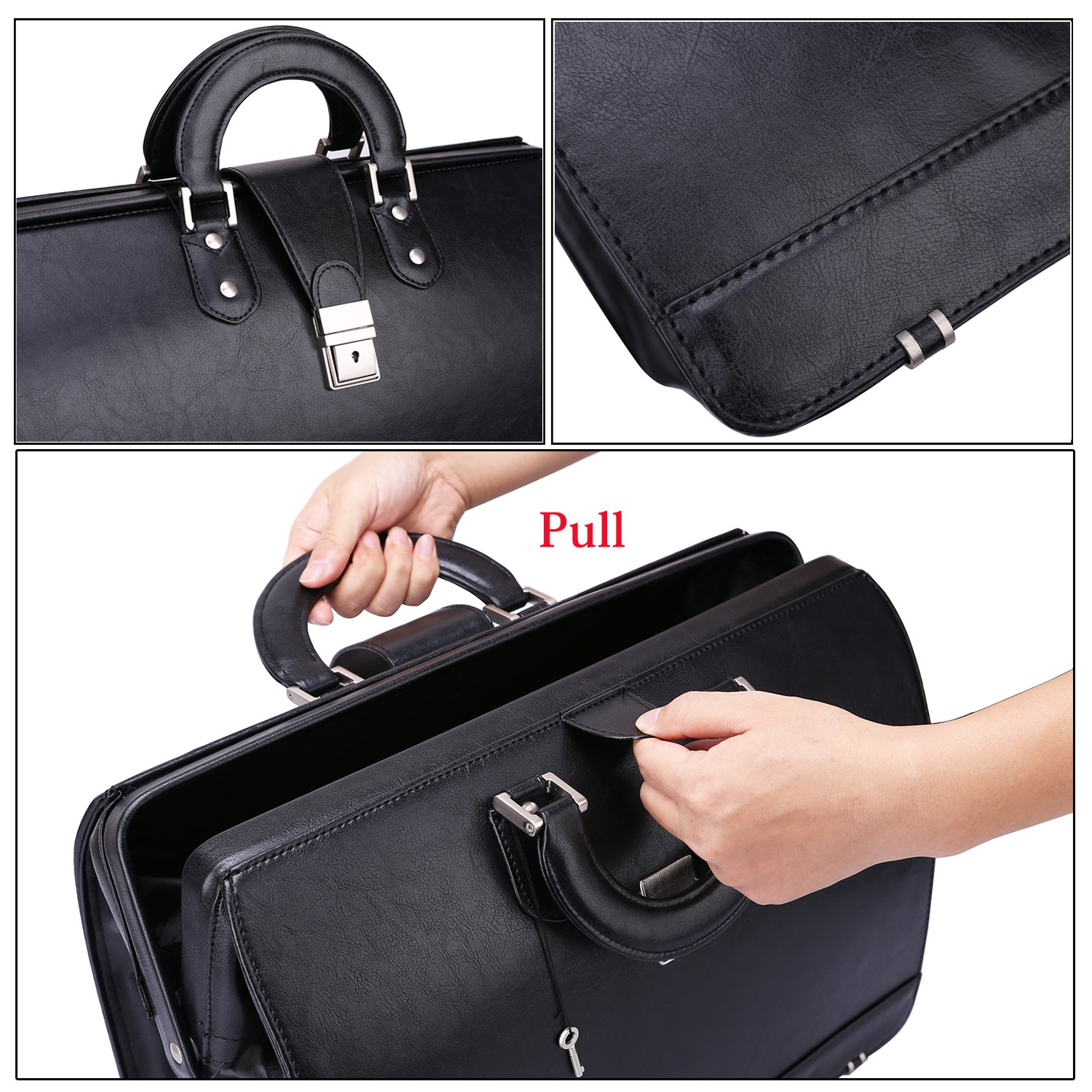Ronts Mens PU Leather Briefcase Lawyer Attache Case with Lock 15.6 Inch Laptop Business Bag, Black by Ronts (Image #5)