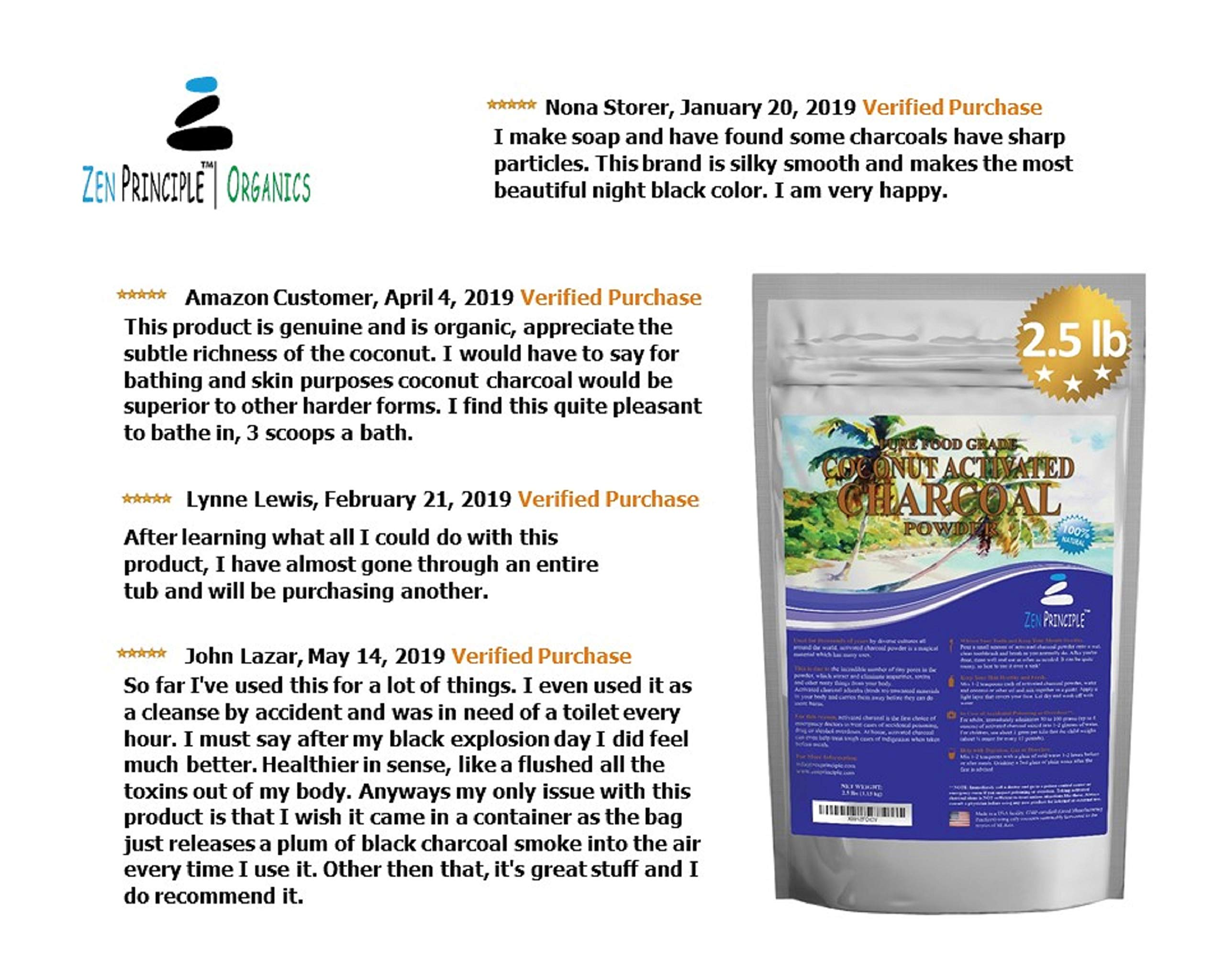 LARGE 2.5 lb. Coconut Activated Charcoal Powder. Whitens Teeth, Rejuvenates Skin and Hair, Detox and helps Digestion. Treats Accidental Poisoning, Bug Bites and Wounds. USA-Owned Producers, FREE scoop by Zen Charcoal (Image #8)