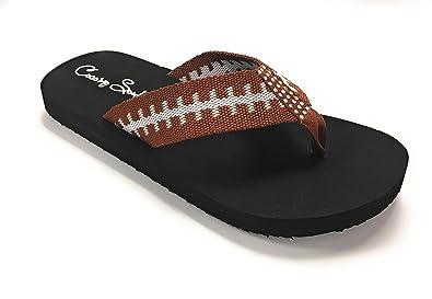 b3e6cfcd3 Cocomo Soul Flat Fabric Football Flip Flop Sandals Rhinestone (7) Brown