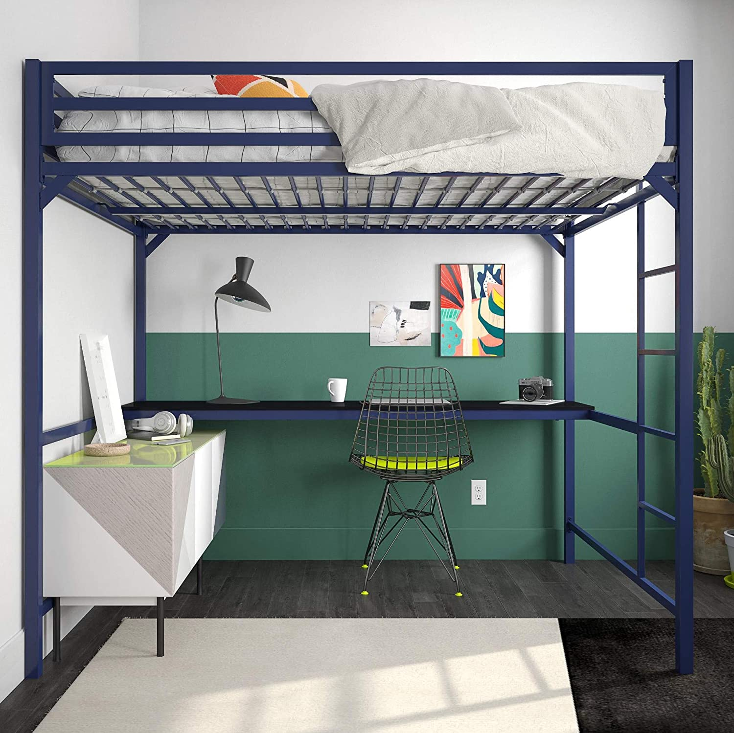 Amazoncom Dhp 4308629 Miles Full Metal Loft Bed With Desk Blue