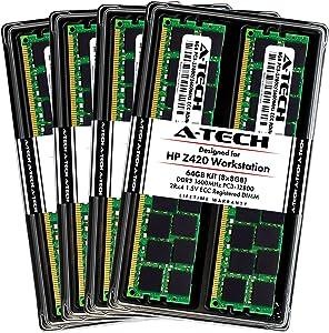 A-Tech 64GB ECC Registered Memory Kit for HP Z420 Workstation (8 x 8GB) ECC RDIMM DDR3 PC3-12800 1600MHz 240-Pin DIMM 2Rx4 1.5V Dual Rank RAM Upgrade