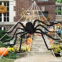 Halloween Decorations Outdoor, 200″ Spider Web, 60″ Giant Spider, with Extra Stretch Cobwebs and 10 Small Plastic Spiders, Halloween Outdoor Scary Decorations Yard Home Outside Parties House Décor