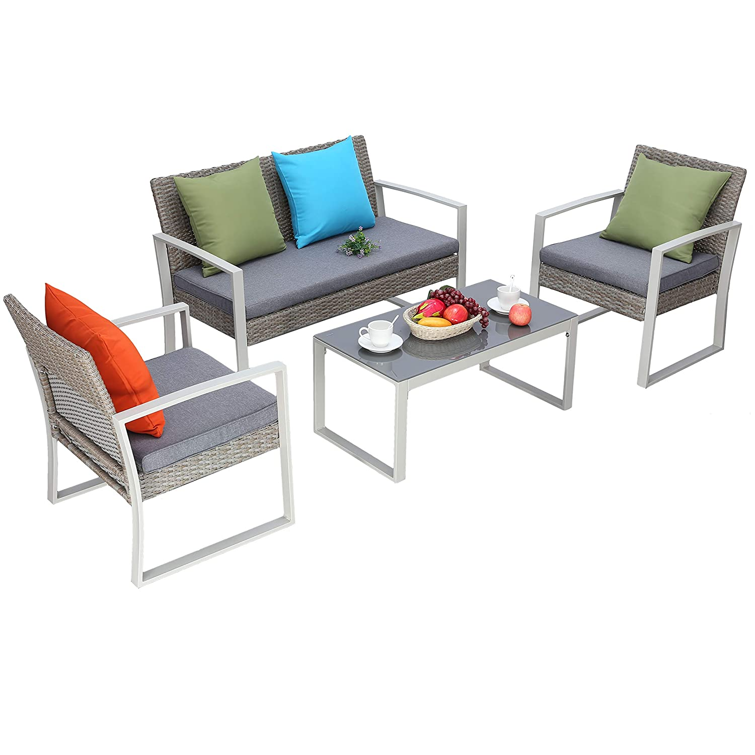 Do4u 4 pcs outdoor patio furniture conversation set cushioned pe wicker bistro table set with coffee table loveseat 2 single sofas durable steel garden