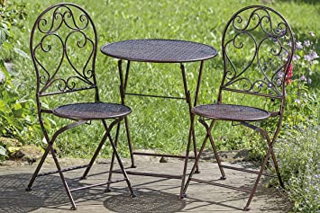 Amazonde Gartenset Tisch Und 2 Stühle Metall Braun